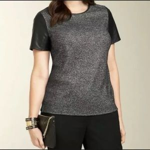 Talbots Gray WOOL Blend Leather Sleeves Top Sz L